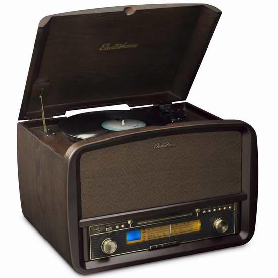 金盒头条:Electrohome 签名版多功能一体复古播放器5.3折 201.96加元限时特卖并包邮!另有2款复古黑胶播放器99.96加元起特价销售!