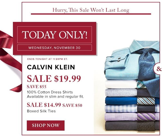 The Bay 精选上百款 Calvin Klein 男式时尚纯棉衬衣、丝质领带2.3-2.5折限时特卖!仅售14.99-19.99元!