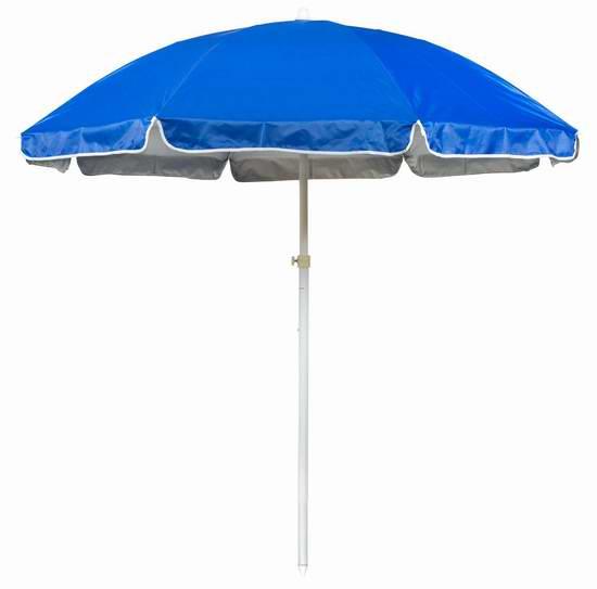 白菜价!Trademark Innovations UMB-TBLE-BU 6.5英尺便携式太阳伞/沙滩遮阳伞2折 16.12加元!