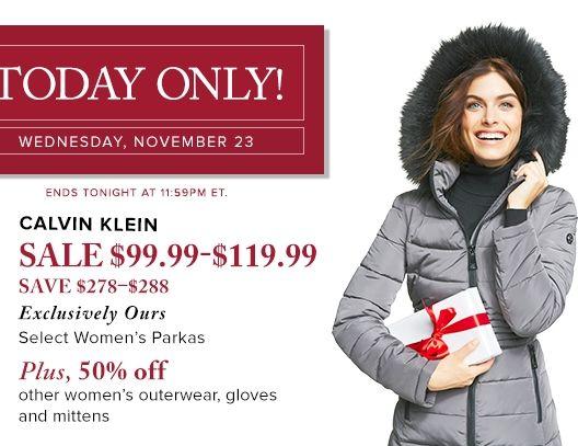 精选多款 Calvin Klein 女式中长款时尚羽绒服2.6折 99.99元限时抢购并包邮!另有75款手套全部5折!