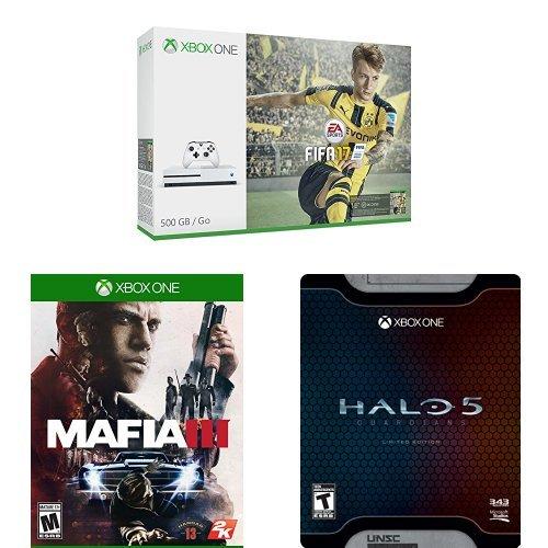 历史新低!黑五头条:Xbox One 500GB 家庭娱乐游戏机+《FIFA 17》+《黑手党III》+《光环5:守护者》超值套装 349.99元限时特卖并包邮!