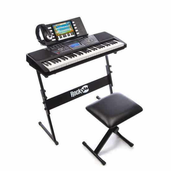 历史新低!黑五头条:RockJam 561 61键电子琴+琴架+琴凳+耳机套装6.2折 99元限时特卖并包邮!送3个月免费钢琴网络课程!