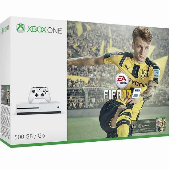 历史新低!Xbox One 500GB 家庭娱乐游戏机+《FIFA 17》套装 299.99元限时特卖并包邮!