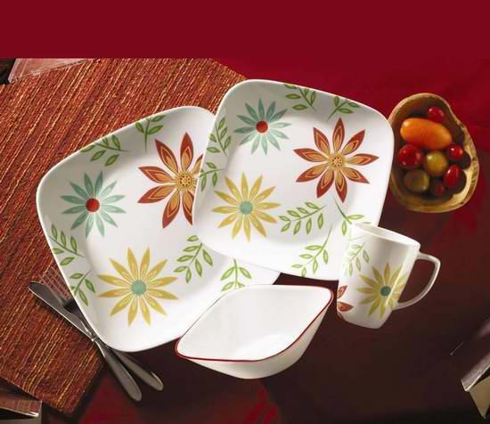 历史最低价!CORELLE 康宁 Livingware 餐具16件套5.3折 49.96元限时特卖并包邮!