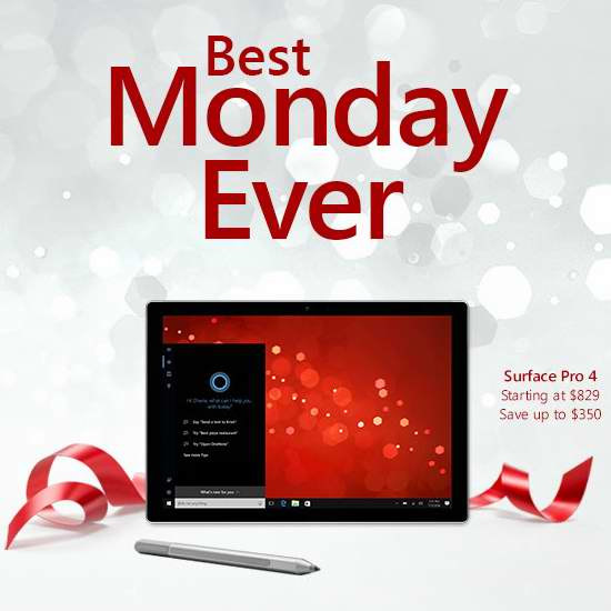 Microsoft Store 网购星期一特卖开售!Surface Pro 4 笔记本电脑829元起!
