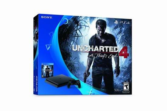 历史新低!PlayStation 4 Slim 500GB 游戏机 + 《神秘海域4:盗贼末路》超值套装 299.99加元限时特卖并包邮!