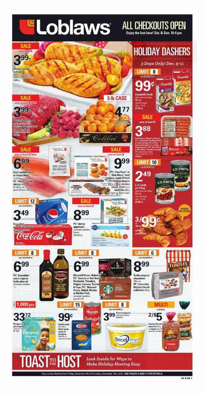 Loblaws超市本周(2016.12.9-2016.12.15)打折海报