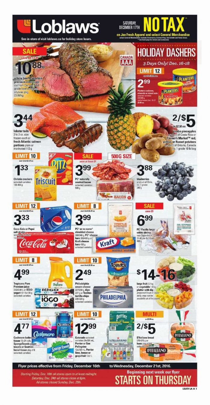 Loblaws超市本周(2016.12.16-2016.12.22)打折海报