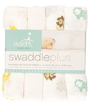 aden by aden + anais 婴儿Muslin棉纱襁褓/毛毯4条装 19.99加元,原价 44.99加元