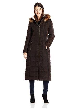 Calvin Klein 女士长款毛领防寒服外套 136.5元(小/大号),原价 455元,包邮