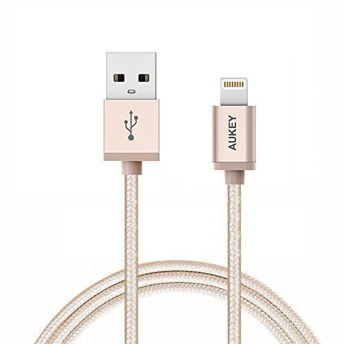 苹果MFI认证,Aukey Lightning to USB数据线 8.99元限量特卖,原价 12.99元