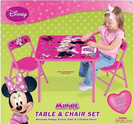 历史新低!Disney 迪士尼 Minnie 米妮主题儿童桌椅3件套4.4折 30.7元限时特卖!