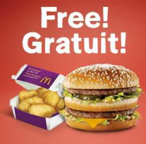 McDonald's 麦当劳 安装手机App免费送巨无霸或6个麦乐鸡炸鸡块!部分店面购买25元礼品卡送汉堡或麦香鸡汉堡!