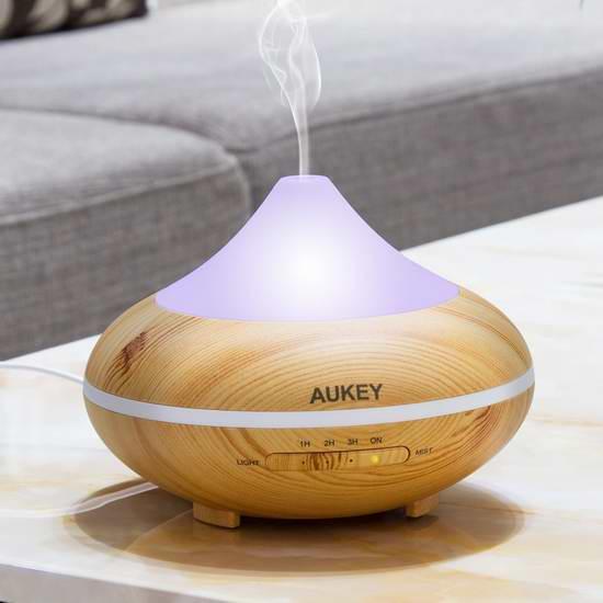 Aukey 200ml 超声波精油香薰/加湿器,内置7彩液晶灯 35.99元限时特卖并包邮!