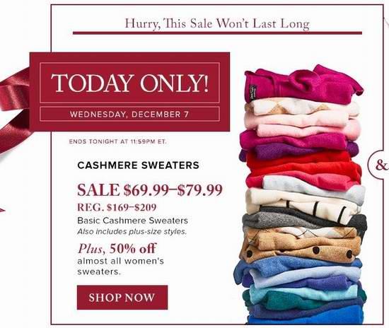 The Bay精选多款 Lord & Taylor 女式时尚羊绒毛衣3.6折起,最高立省130元,仅售69.99-79.99元!