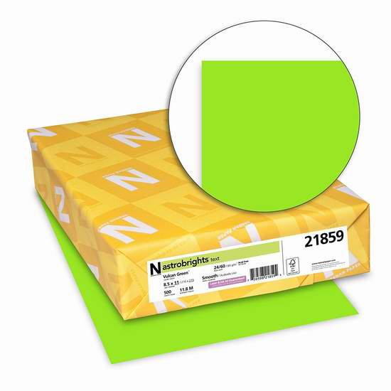 Neenah Astrobrights 高级绿色打印纸(500张)2折 5.78元限量特卖并包邮!