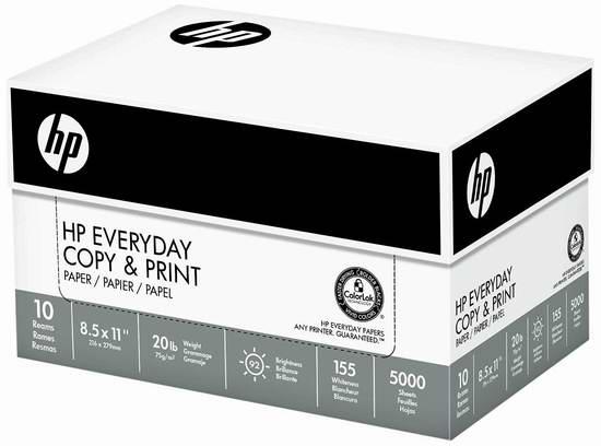 历史新低!HP Everyday 高质量打印复印多用途纸(5000张) 46.89元限时特卖并包邮!