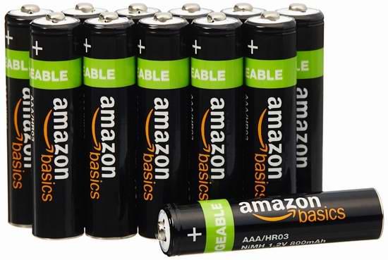 历史新低!AmazonBasics AAA 800 mAh 可充电镍氢电池12只装5.4折 13.59-16.99加元限时特卖!