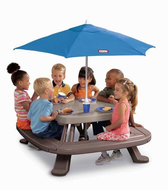 历史新低!Little Tikes Fold 'n Store 折叠式儿童餐桌/游戏桌+太阳伞套装4.4折 75加元包邮!