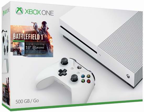历史新低!Xbox One S 500GB 家庭娱乐游戏机+《战地1》套装 299.99元限时特卖并包邮!