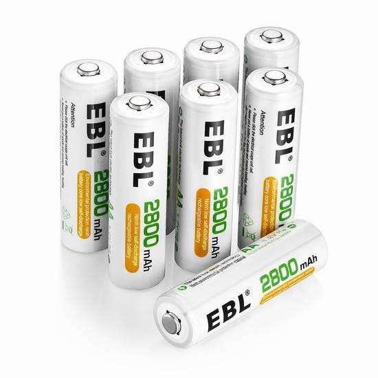 EBL 1100/2800mAh Ni-MH AA/AAA镍氢充电电池8只装 13.59-21.24加元限量特卖!
