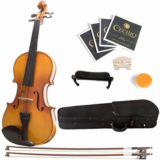 Mendini 4/4 MV400 Full Size 实木小提琴套装 119.58加元限量特卖并包邮!