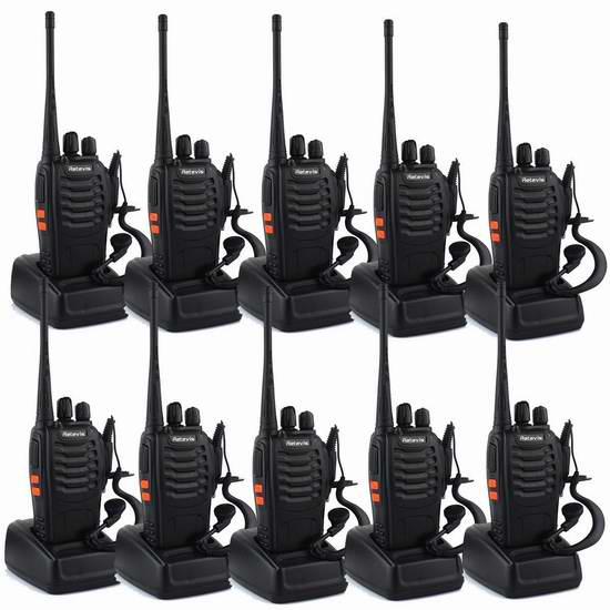 Retevis H-777 Walkie Talkie 5W UHF 400-470MHz 16信道无线专业双向对讲机/手台(内置手电,带耳机)10只装 166.66元限量特卖并包邮!