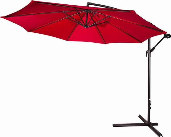 Trademark Innovations 10英尺豪华曲柄庭院遮阳伞 94.07元限量特卖并包邮!
