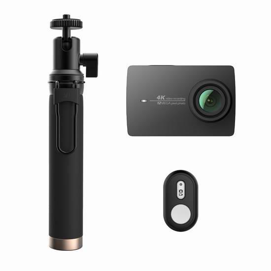 历史新低!Xiaoyi 小蚁 Yi 4K 超高清运动相机+蓝牙遥控+自拍杆套装3.4折 133.17加元包邮!