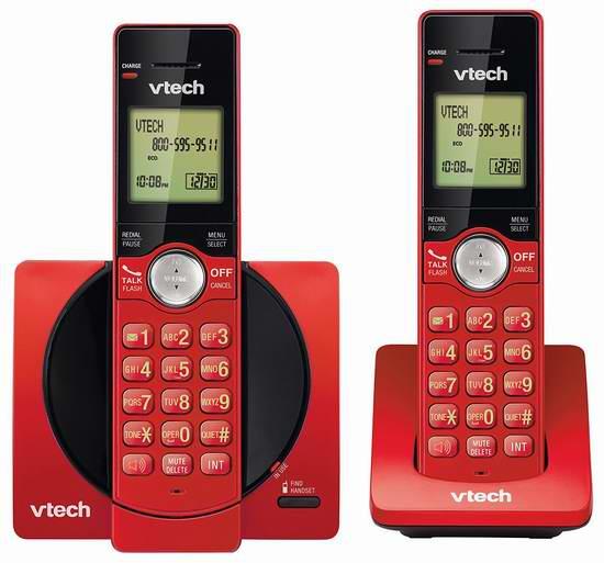 历史新低!VTech 伟易达 DECT 6.0 CS6919-26 红色时尚无绳电话系统 34.99元限时特卖!
