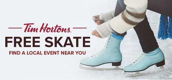 Tim Horton's 赞助寒假期间市民免费滑冰活动!