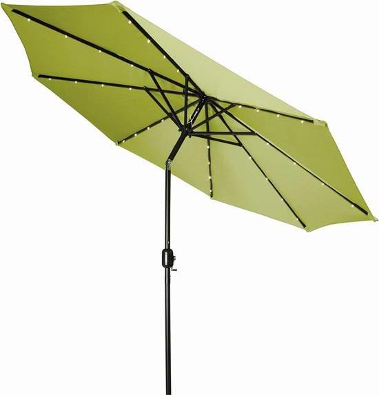 Trademark Innovations PATUMB-LED-LTGR 9英尺可倾斜太阳能照明庭院遮阳伞 66.8元限量特卖并包邮!