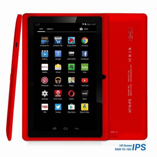 NPOLE N718 7英寸四核16GB平板电脑 67.99加元限量特卖并包邮!3色可选!
