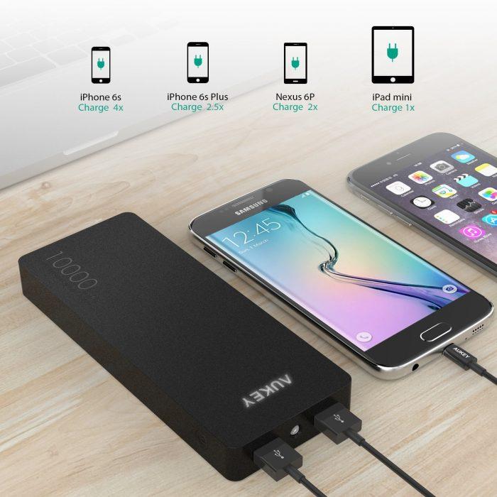 Aukey 10000mAh 双口便携式快速充电宝 15.29加元限量特卖!