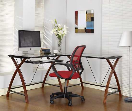 历史新低!King's Brand Ho2127 Workstation Corner L型实木钢化玻璃办公桌4.5折 174.89元限时特卖并包邮!