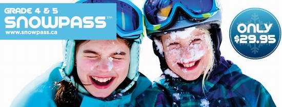 又到一年滑雪季!加拿大4-5年级小学生Snow Pass滑雪证29.95元全国通用!