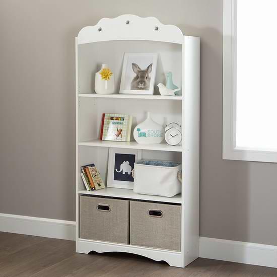 历史新低!South Shore Furniture Tiara 白色4层书柜 89.99元限时特卖并包邮!