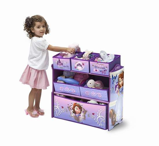 历史新低!Delta Children 迪士尼索菲亚主题豪华儿童玩具收纳架 32.49元限时特卖!