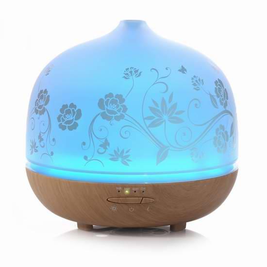 ISELECTOR 500ml 超静音玻璃精油香薰/加湿器,内置7彩液晶灯 50.99-59.49加元限量特卖并包邮!两色可选!
