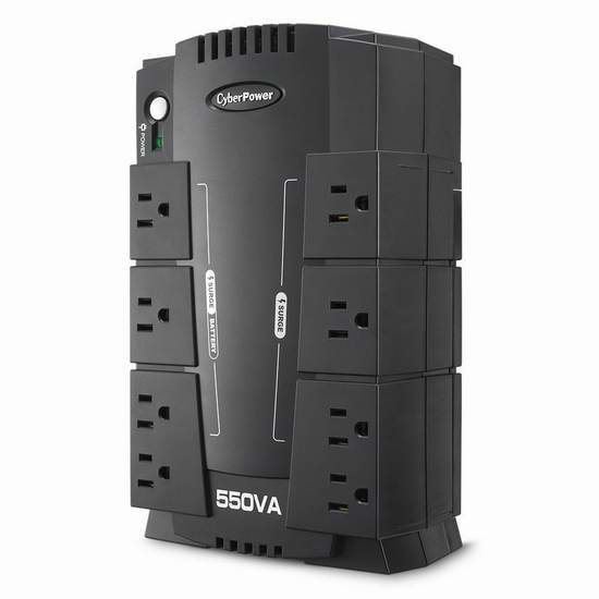 CyberPower CP550SLG 550VA 330W UPS 不间断电源 58.39元限量特卖并包邮!