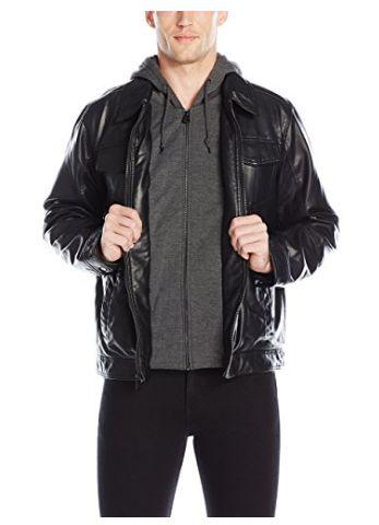 Levi's 李维斯 男式时尚人造革连帽皮夹克1.7折 35.81加元起限时清仓并包邮!