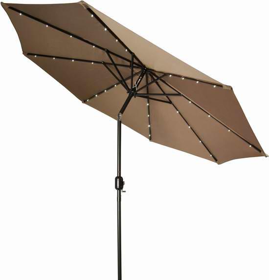Trademark Innovations PATUMB-LED-TAN 9英尺可倾斜太阳能照明庭院遮阳伞 66.79元限量特卖并包邮!