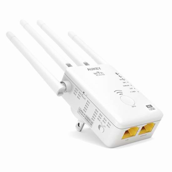 历史新低!AUKEY WF-R8 AC 1200Mbps 双频无线Wi-Fi信号延伸器 33.39加元限量特卖并包邮!