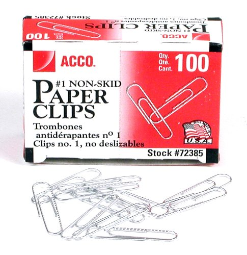ACCO 1号防滑回形针100只装 0.58加元!