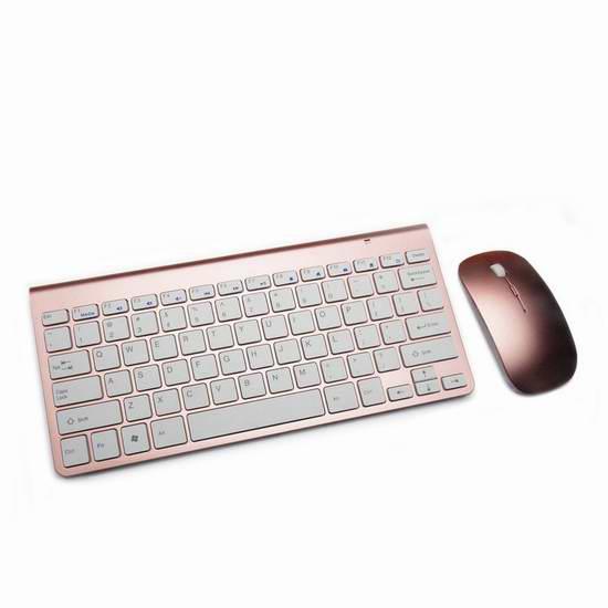 Boddenly 超薄迷你无线键盘鼠标套装 19.6元限量特卖!银色、玫瑰金两色可选!