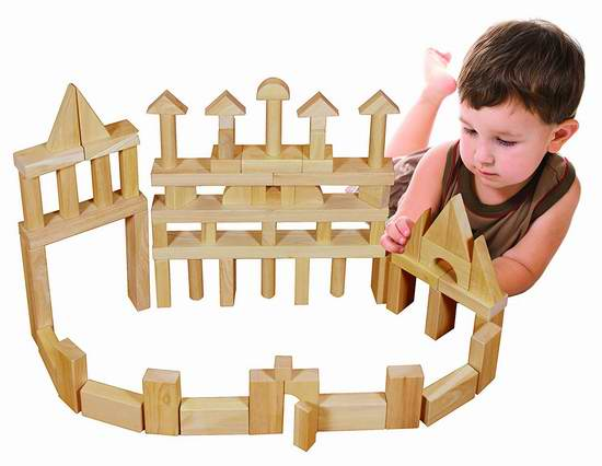 售价大降!历史新低!ECR4Kids 天然实木积木75件套2.8折 66.82元限时特卖并包邮!