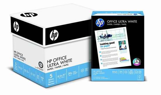历史新低!HP Everyday Papers 高质量超白打印复印多用途纸(2500张)4.2折 19.99元限时特卖!