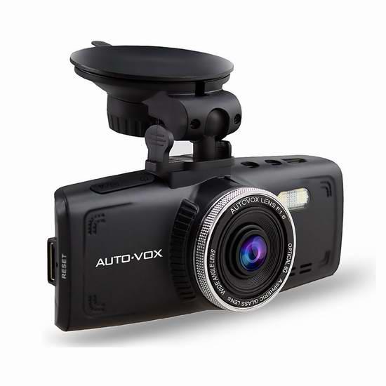 AUTO-VOX D1 2.7英寸1080P全高清超大广角超级夜视行车记录仪 95.99元限量特卖!送32GB闪存卡!