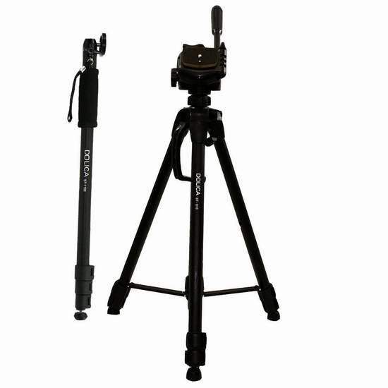 历史新低!Dolica STC-100 63英寸相机三脚架 + 68英寸独脚架套装2.9折 25.26元限时特卖!