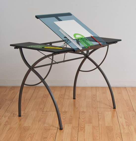 历史新低!Studio Designs Catalina 10081 时尚浅蓝色钢化玻璃绘画桌/书桌 145.72元限时特卖并包邮!